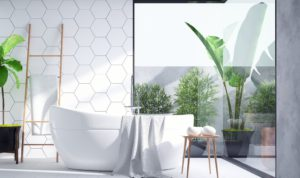 A large window in a contemporary bathroom